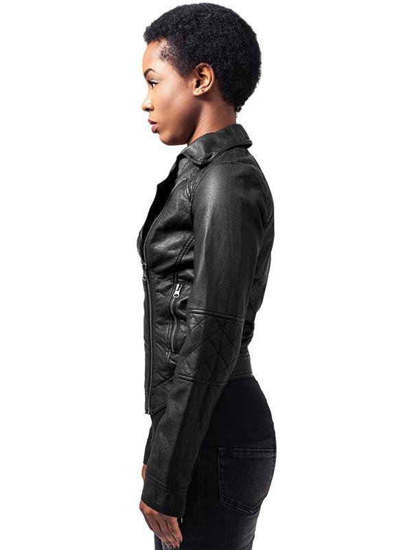 Urban///  Ladies Leather Imitation Biker Jacket